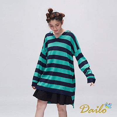 Dailo INLook 前短後長條紋針織長帽T(綠色)