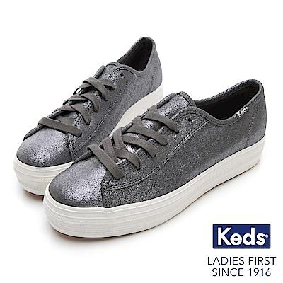 Keds TRIPLE KICK 麂皮霧感綁帶厚底休閒鞋-深灰