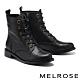 短靴 MELROSE 復古質感牛皮純色造型低跟短靴-黑 product thumbnail 1
