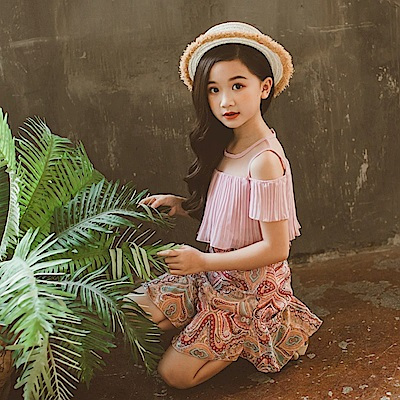小衣衫童裝  中大童雪紡假2件印花公主裙洋裝1080306