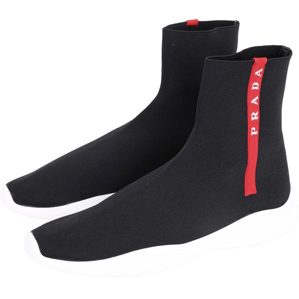 PRADA 彈性面料襪套運動鞋(女款/黑色)