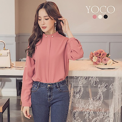 東京著衣-yoco 千金質感珍珠造型領口上衣-S.M.L(共三色)