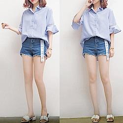 MOCO藍色條紋荷葉袖鏤空前短後長拼接襯衫XL~4L