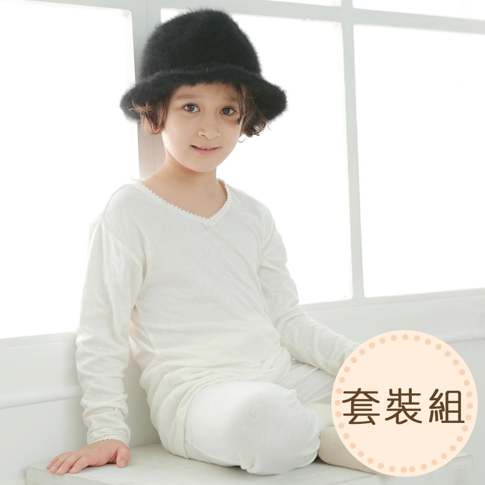 anny pepe舒暖雙層純棉長袖套裝-花邊領