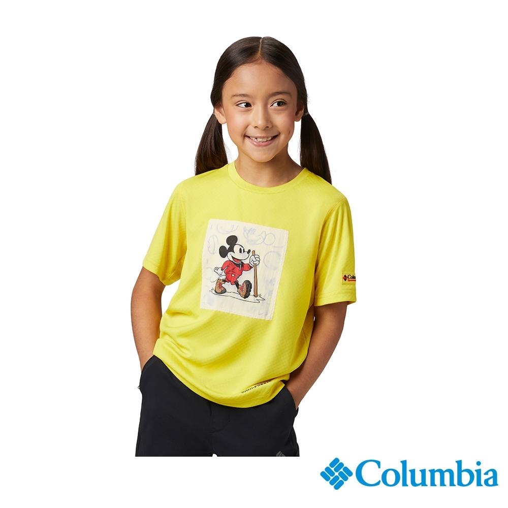 Columbia 哥倫比亞X Disney 童款-涼感防曬30快排短袖排汗衫-黃色 UAY00380YL