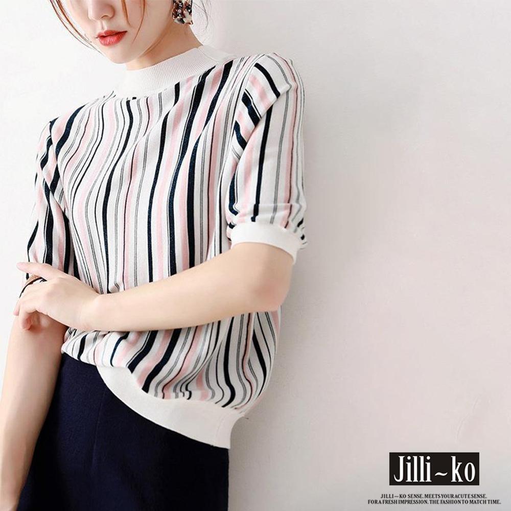 JILLI-KO 精緻配色直條針織衫- 杏/黑 (杏色系)