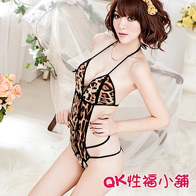 QK性福小舖 三點性感緊身豹紋連體比基尼 QK066