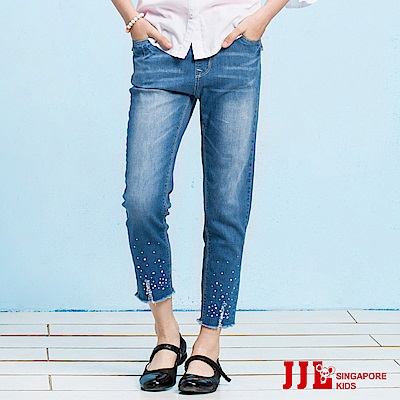 JJLKIDS 亮鑽破損感牛仔褲(牛仔藍)