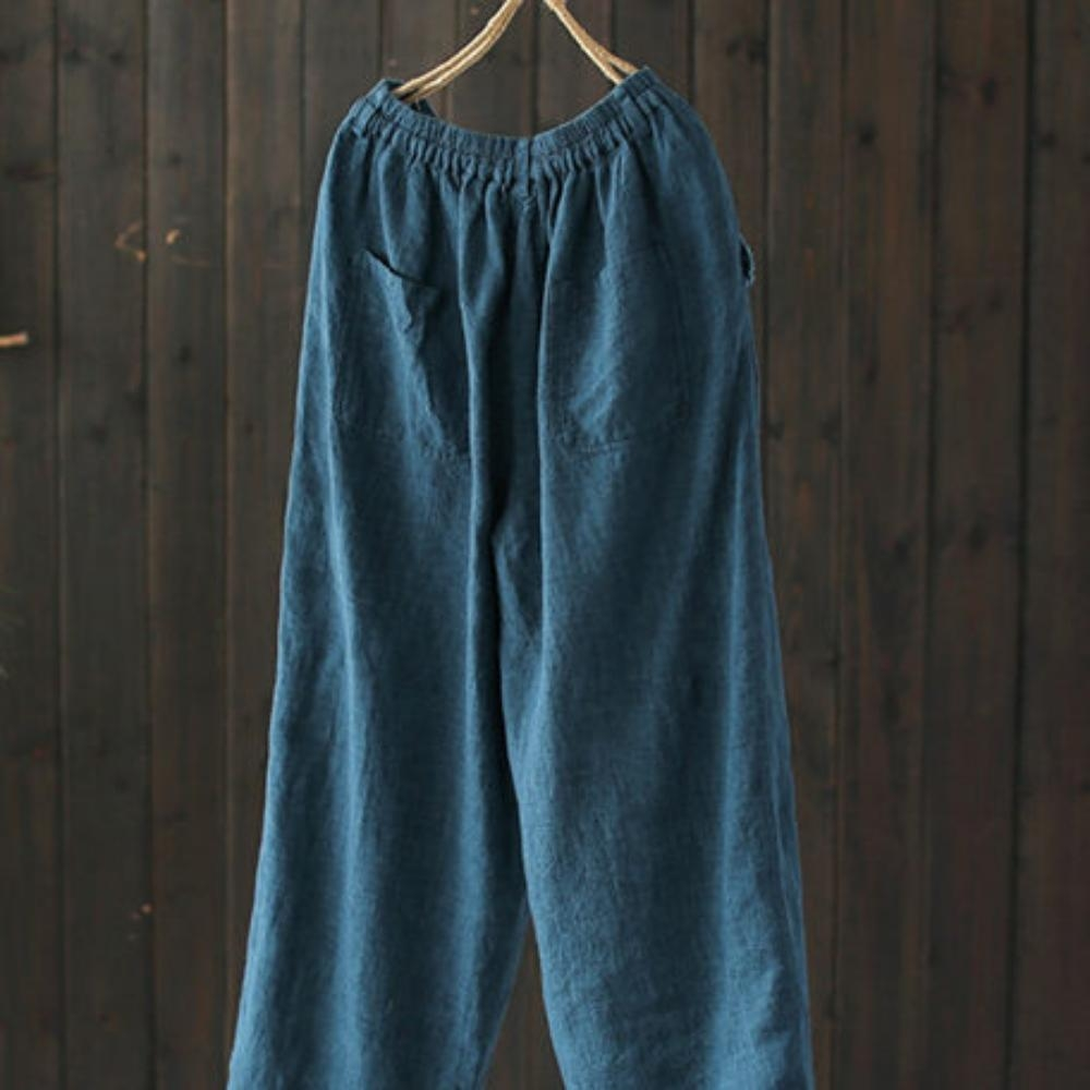 毛邊拼接亞麻休閒寬鬆棉麻九分褲-設計所在 product image 1