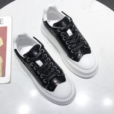 韓國KW美鞋館 美式作風完美亮片活力鬆糕鞋-黑