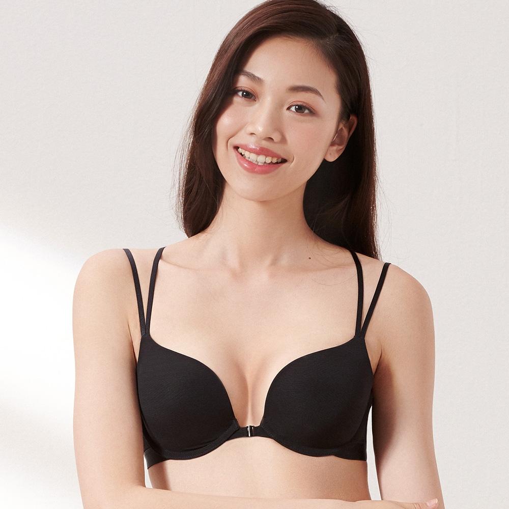 黛安芬-璀璨水感動系列 前扣美背 B-C罩杯內衣 經典黑