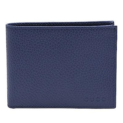 GUCCI 經典品牌LOGO烙印荔枝紋牛皮短夾(皇家藍)