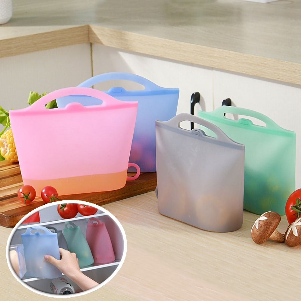 EZlife手提矽膠保鮮袋4入組(隨機色)贈刨絲器1組(隨機色)(快)