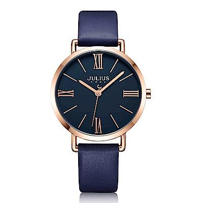 JULIUS聚利時 經典美學簡約時尚皮錶帶腕錶-午夜藍/34mm