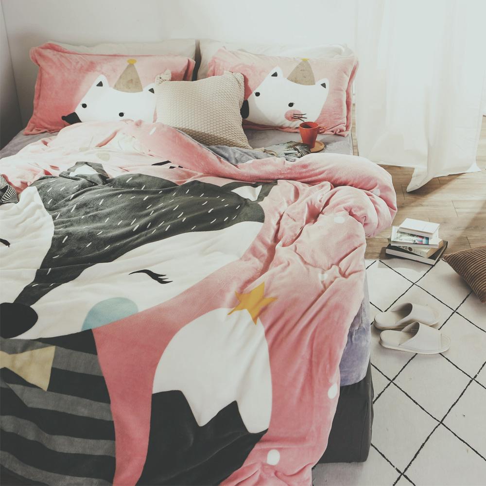 絲薇諾 櫻桃狐狸 加大四件式-法蘭絨 鋪棉加厚床包被套組