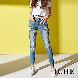 ICHE 衣哲 設計款刷色刷破拼接直筒九分牛仔鉛筆褲-藍
