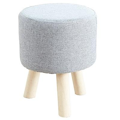 澄境 樸實灰亞麻布實木腳沙發椅凳