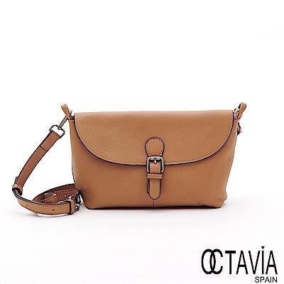 OCTAVIA8 真皮 -  WRITER 皮帶扣牛皮肩斜二用小書包 - 奶茶棕