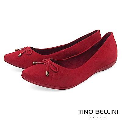 Tino Bellini巴西進口特殊格紋牛皮平底娃娃鞋_紅