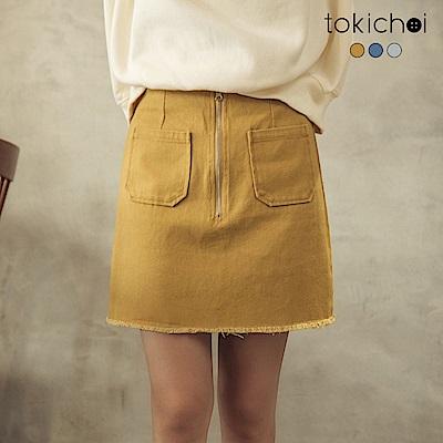 東京著衣 歐膩推薦多色雙口袋不收邊牛仔裙-S.M.L.XL(共三色)