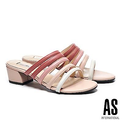拖鞋 AS 漸層配色條帶羊皮一字低跟拖鞋-粉