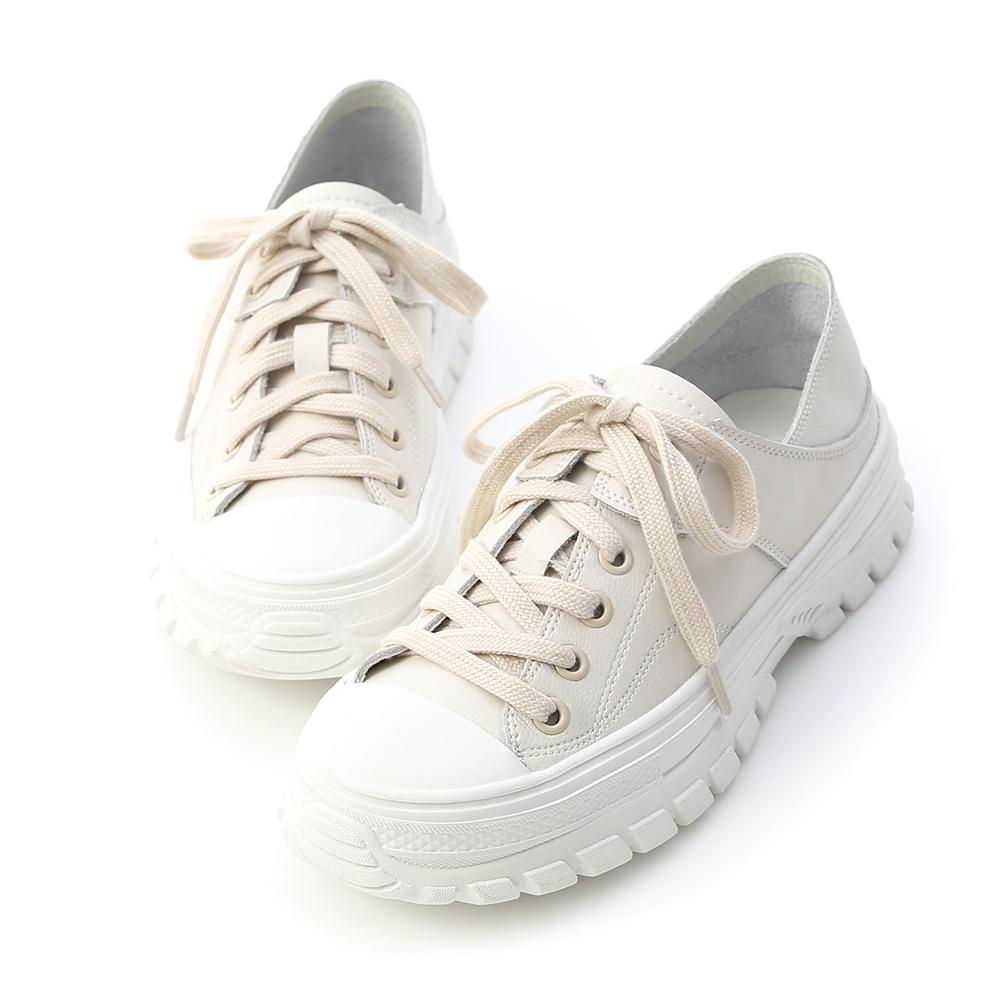 D+AF 舒活日常.可後踩真皮綁帶休閒鞋*杏