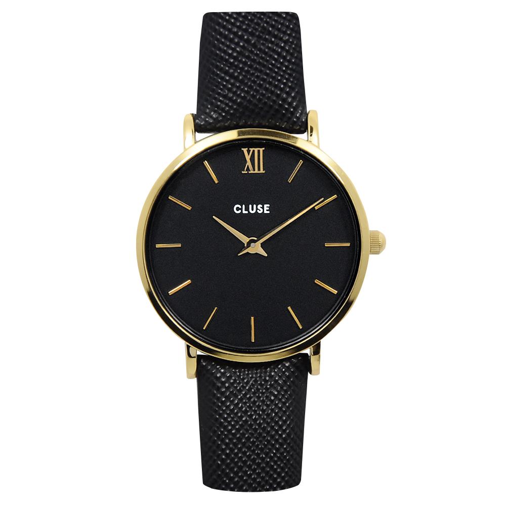 CLUSE MINUIT金色系列金色錶框黑錶盤十字紋防刮皮帶錶(CL30014)-33mm