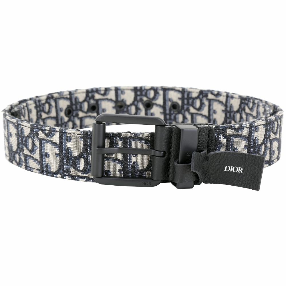 Dior Diorquake Oblique 經典緹花帆布黑色釦頭皮帶