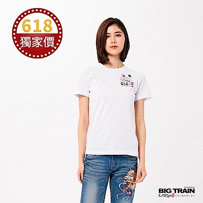 BIG TRAIN 招財貓圓領短袖女款-女-白色