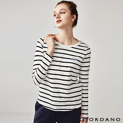 GIORDANO 女裝純棉小巧刺繡長袖T恤-12 皎雪/標誌黑