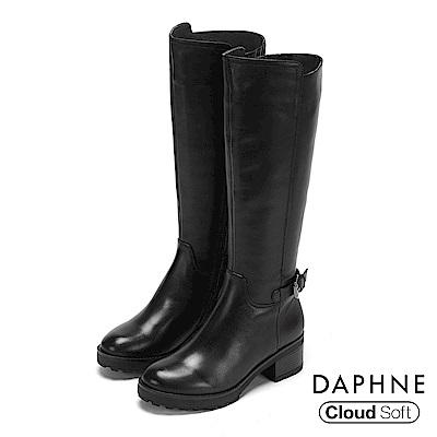 達芙妮DAPHNE 長靴-質感牛皮拼接幾何彈性粗跟長靴-黑
