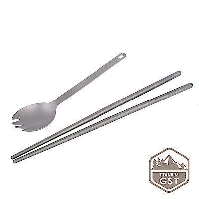 【GSTitanium】抗菌純鈦中式餐具組(湯叉+筷子)