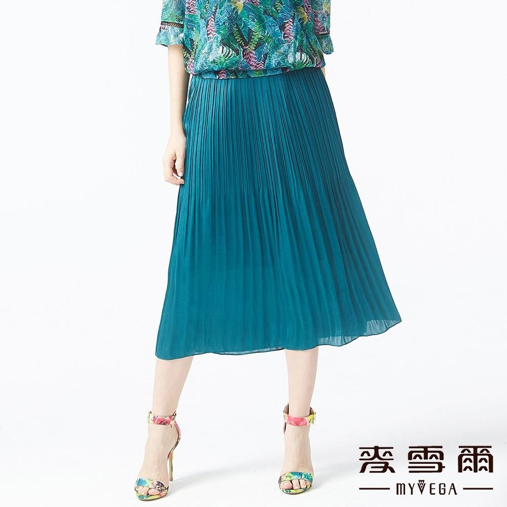 MYVEGA麥雪爾 緞面壓紋鬆緊腰頭長裙-綠
