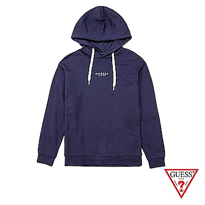 GUESS-女裝-刺繡LOGO長袖帽T-深藍