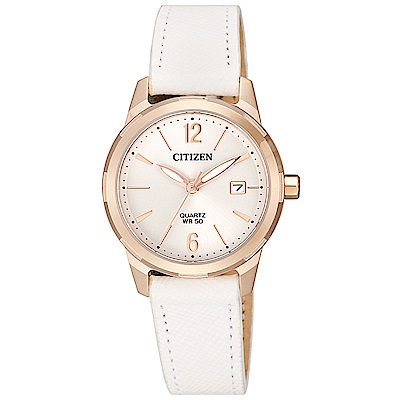 CITIZEN 星辰 典雅時尚真皮手錶EU6073-02A-白X玫瑰金框/30mm