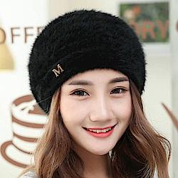 梨花HaNA 韓國M字百搭感覺柔軟女人味兔毛貝蕾帽