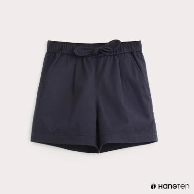 Hang Ten-童裝純色綁結百慕達褲-藍