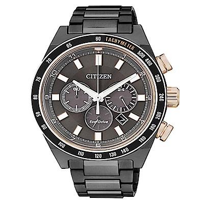 CITIZEN Eco-Drive 夜幕黑時尚計時碼錶(CA4207-53H)男錶
