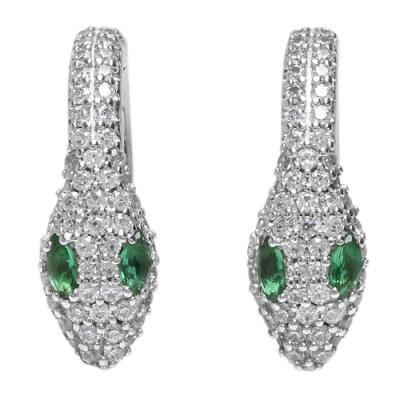 apm MONACO JUNGLE系列925銀水鑽鑲飾綠眼蛇形穿式耳環(銀)