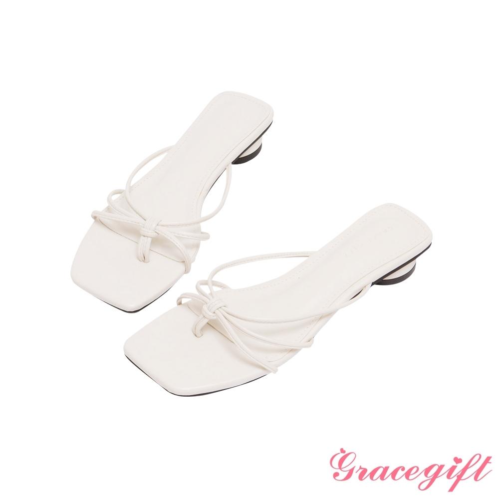 Grace gift-細帶夾腳圓低跟涼拖鞋 白