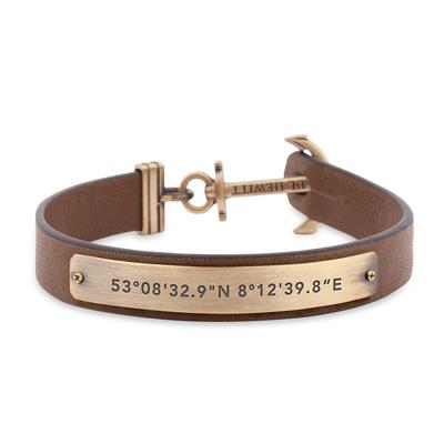 PAUL HEWITT  SIGNUM 船錨座標皮革手環-古銅X 咖啡