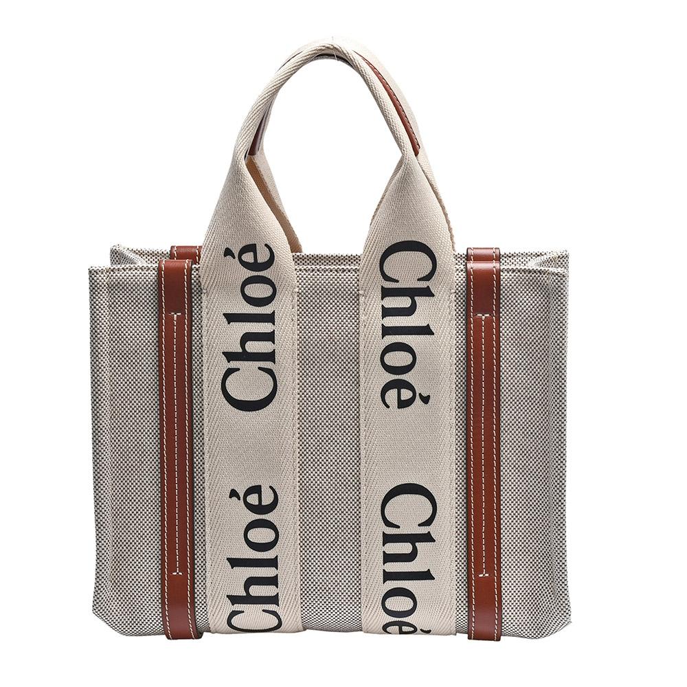 CHLOE 經典WOODY系列帆布手提包(小-棕色)