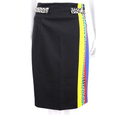 CLASS roberto cavalli 運動風拚動物紋設計黑色修身及膝裙