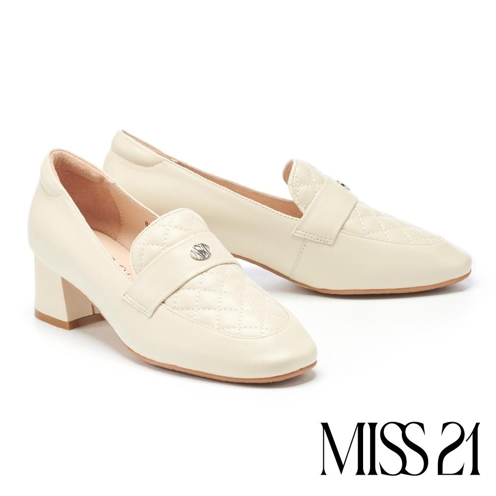 高跟鞋 MISS 21 百搭小時髦學院風菱格紋樂福高跟鞋-米