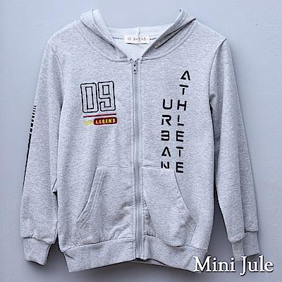 Mini Jule 大童 外套 09刺繡英文字母印花長袖連帽外套(灰)