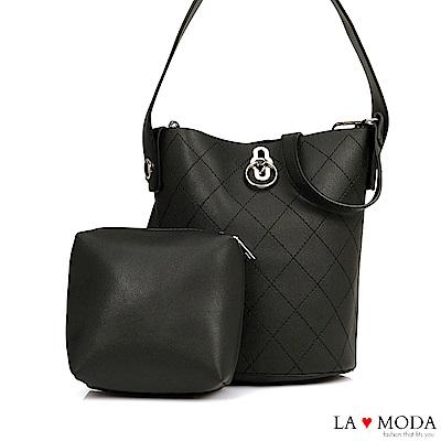 La Moda 人氣不敗小香風菱格車線多背法質感旋鈕肩背斜背子母包(黑)
