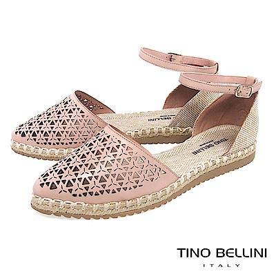 Tino Bellini 巴西進口幾何沖孔繫踝麻編平底鞋 _ 粉