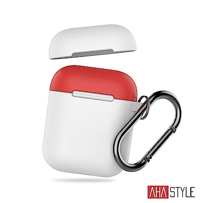 AHAStyle AirPods 1&2代 掛勾矽膠保護套 白色+紅色上蓋