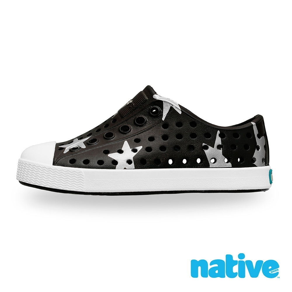 native 大童鞋 JEFFERSON 小奶油頭鞋-瞬黑x銀色星星