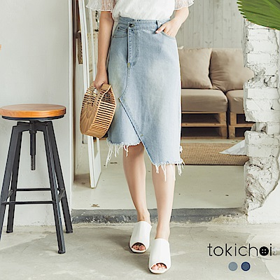 東京著衣 不對稱剪接刷色牛仔裙-S.M.L(共二色)